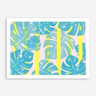 Linocut Monstera Neon in Art Print