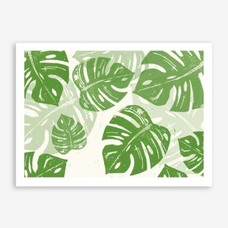 Linocut Monstera in Art Print
