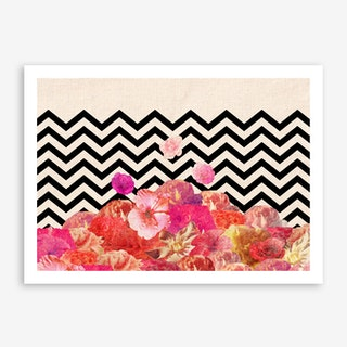 Chevron Flora II - horiz in Art Print