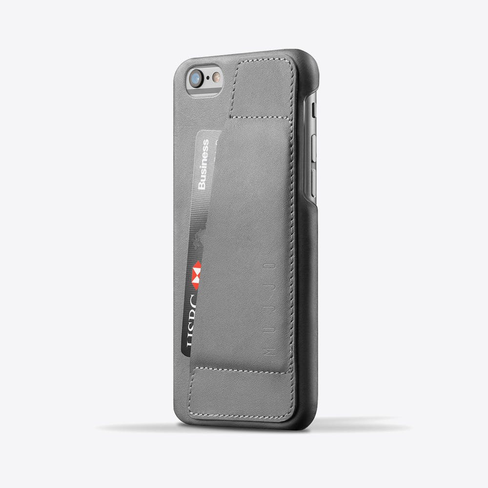 Leather Phone Wallet Case 80° in Grey