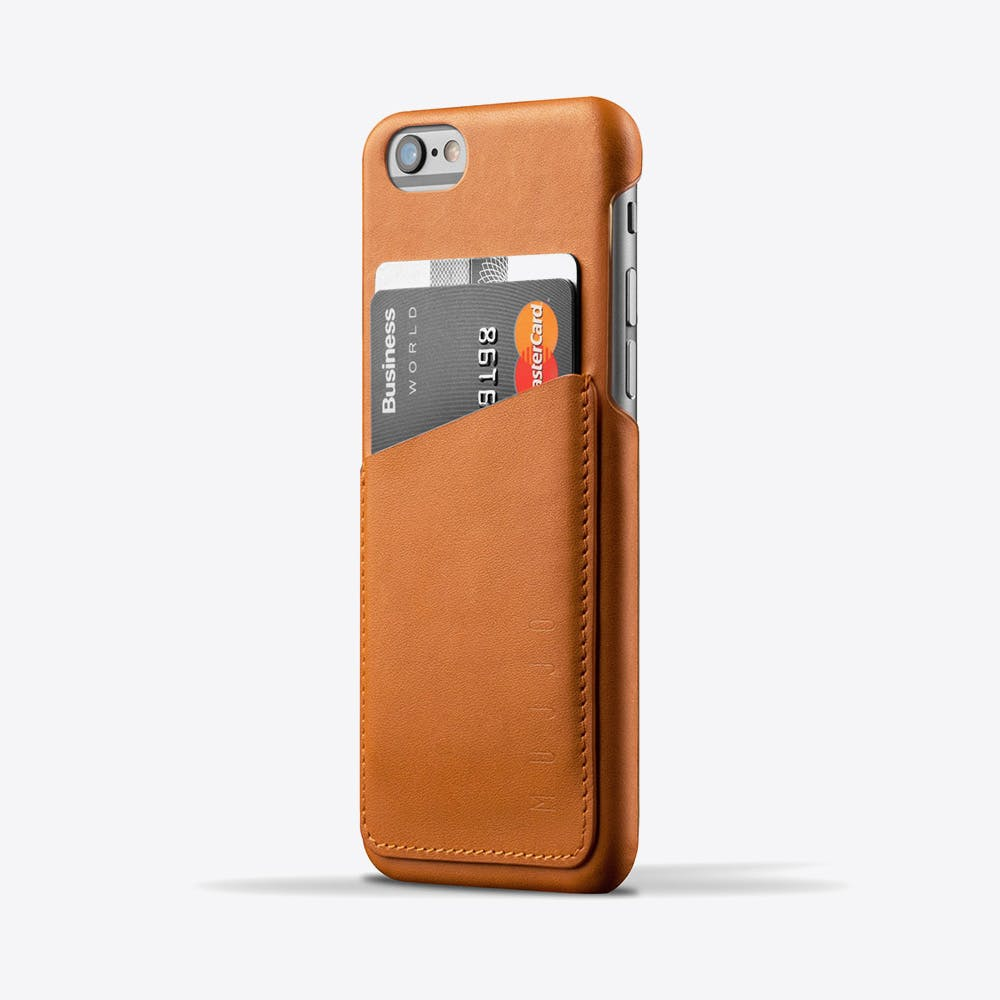 Leather Phone Wallet Case in Tan