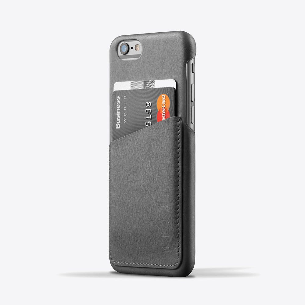Leather Phone Wallet Case in Grey