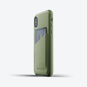 Full Leather Wallet Case for iPhone Xs - Olive
