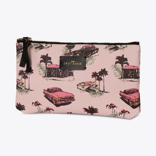 Pink Cadillac Make-up Bag Flat