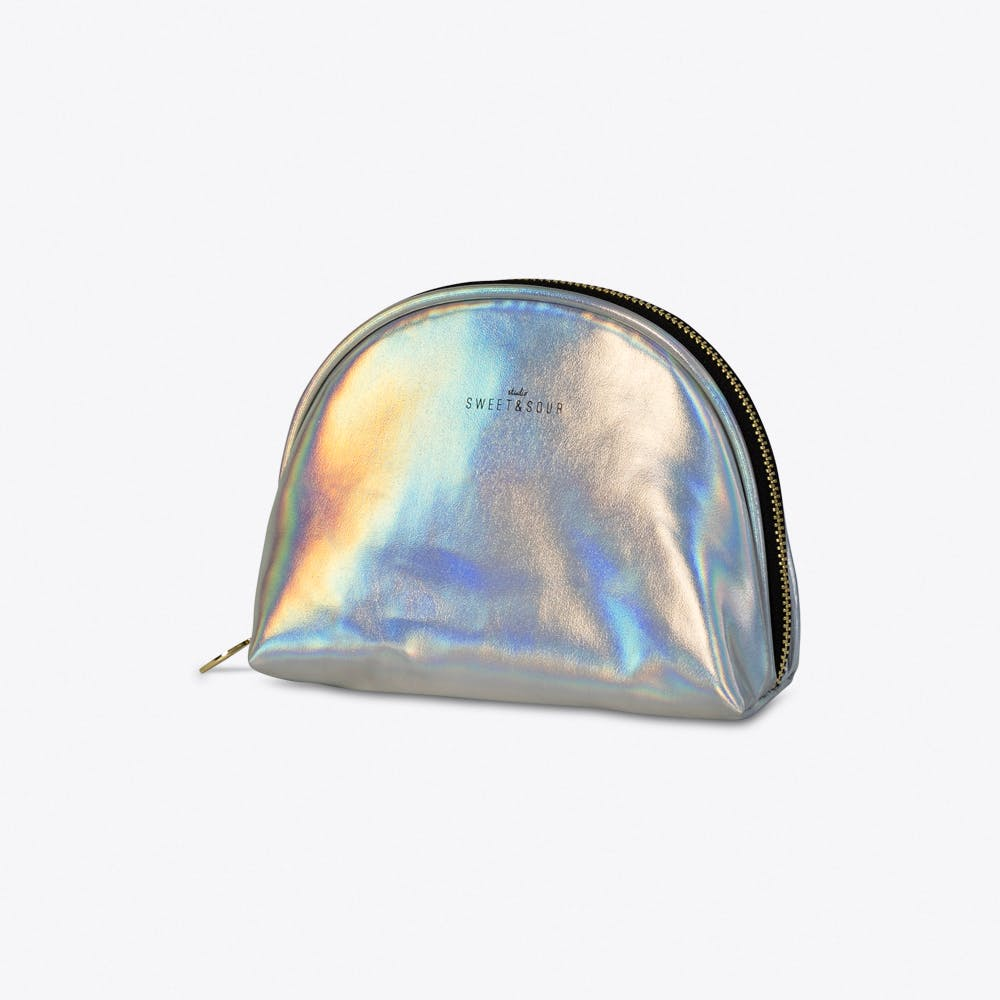 Holographic Silver Make-up Bag Small
