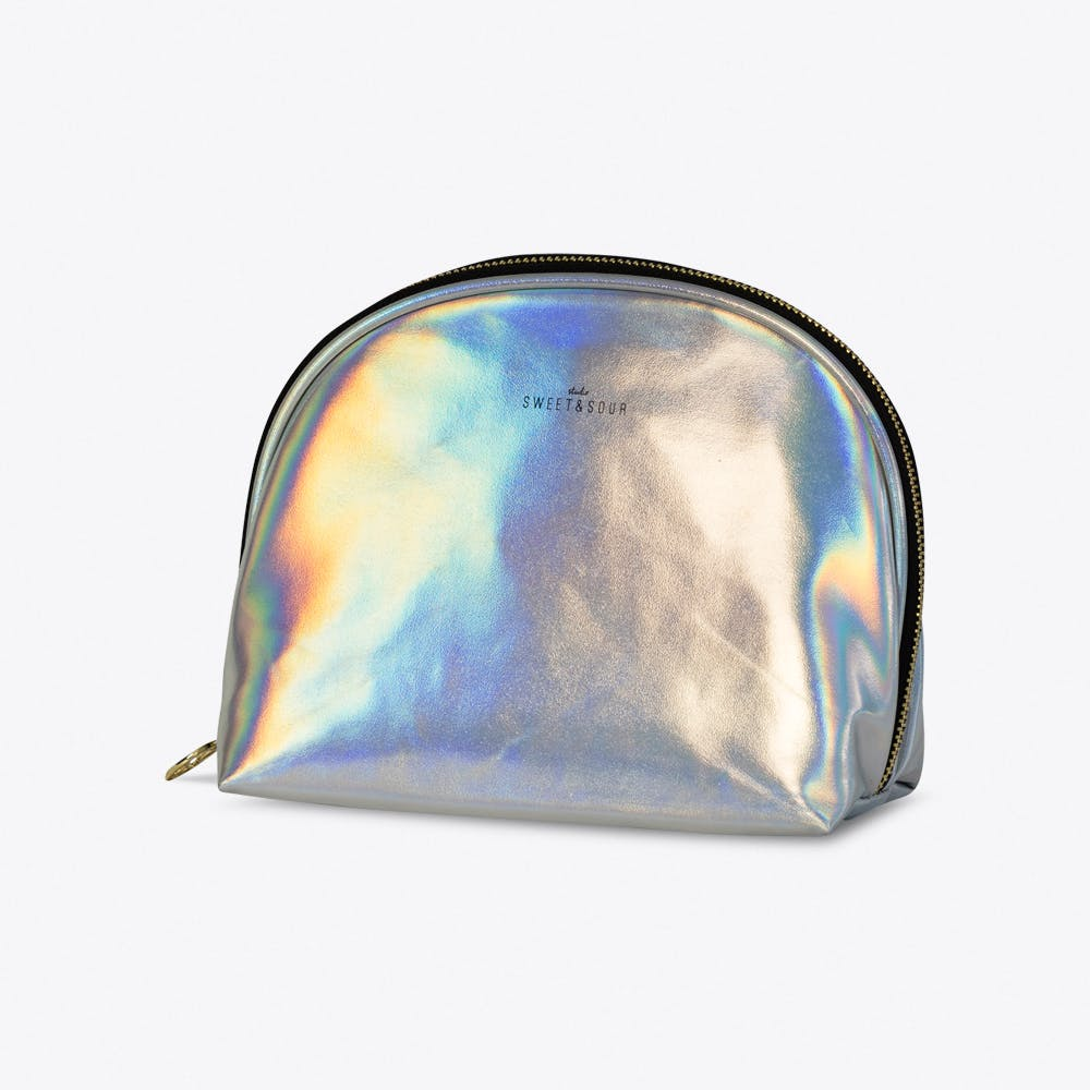 Holographic Silver Make-up Bag Medium