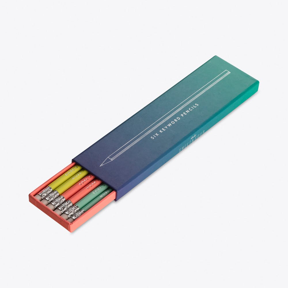 6 Pencils with Foil Stamped Quotes in Gradient Giftbox