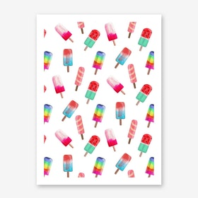 Watercolored Popsicle Pattern Print