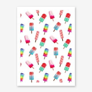 Watercolored Popsicle Pattern Art Print