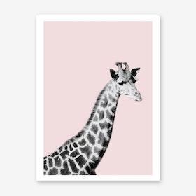 Giraffe on Pink Art Print