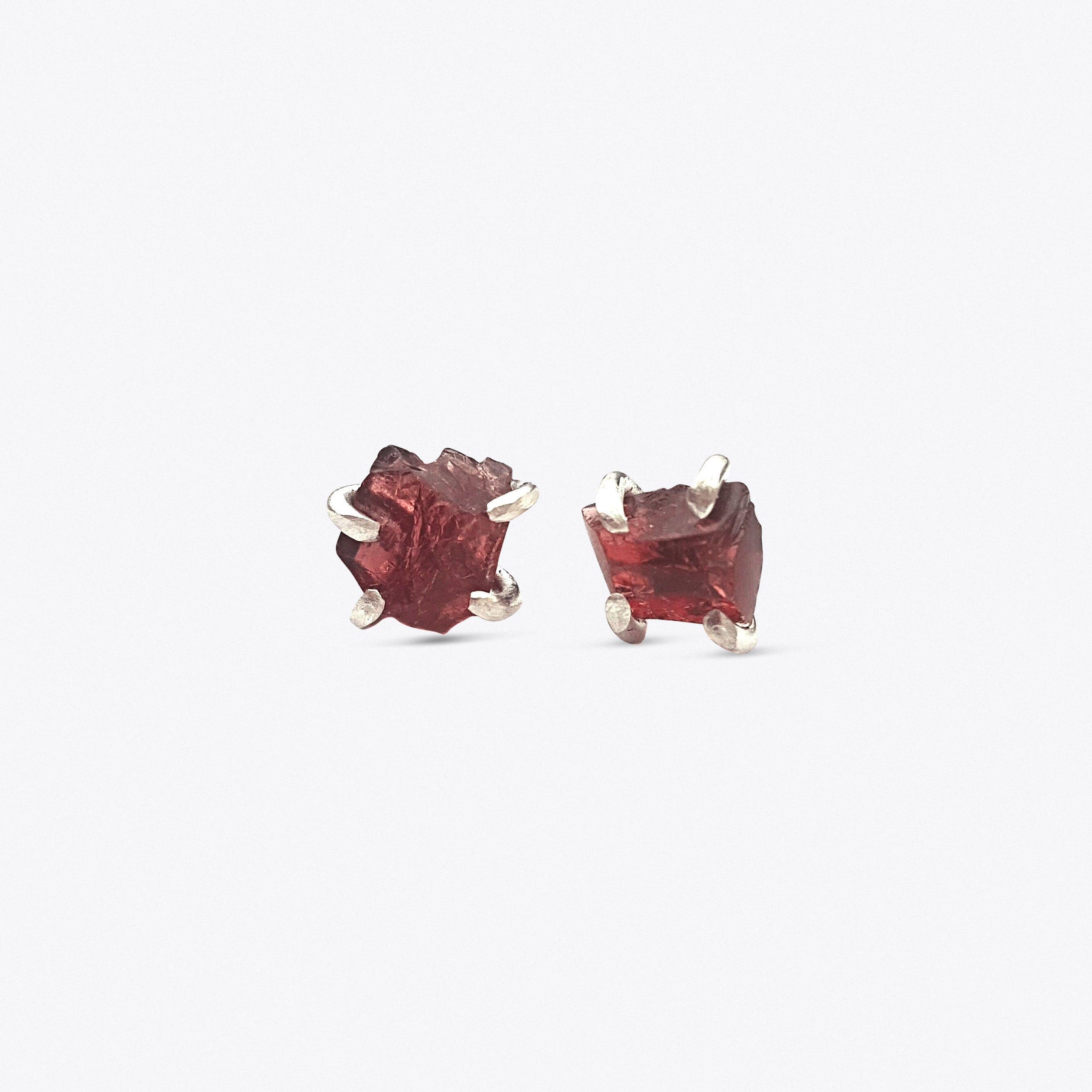 Rock Earrings - Garnet