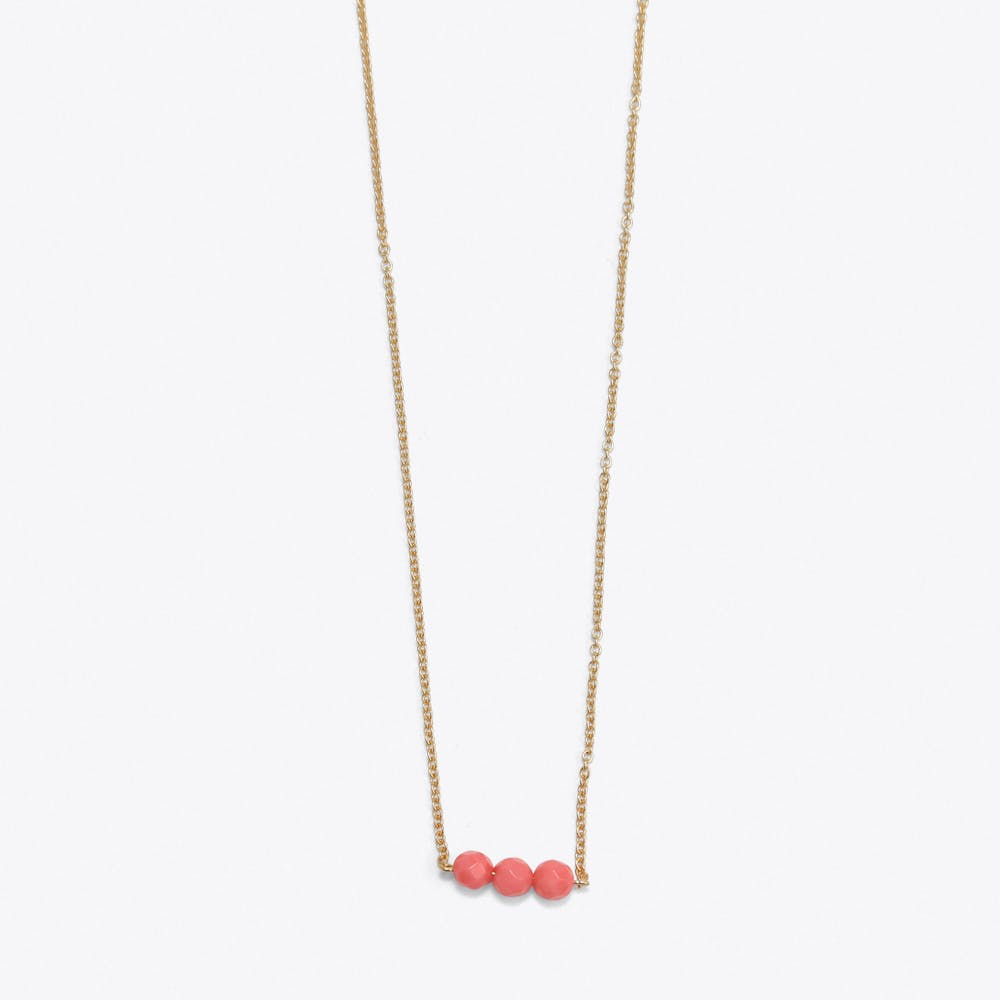 3 Friends On A String Necklace in Coral