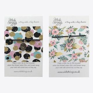 Glitter Polka Dots & Flower Duo Friendship Bracelets