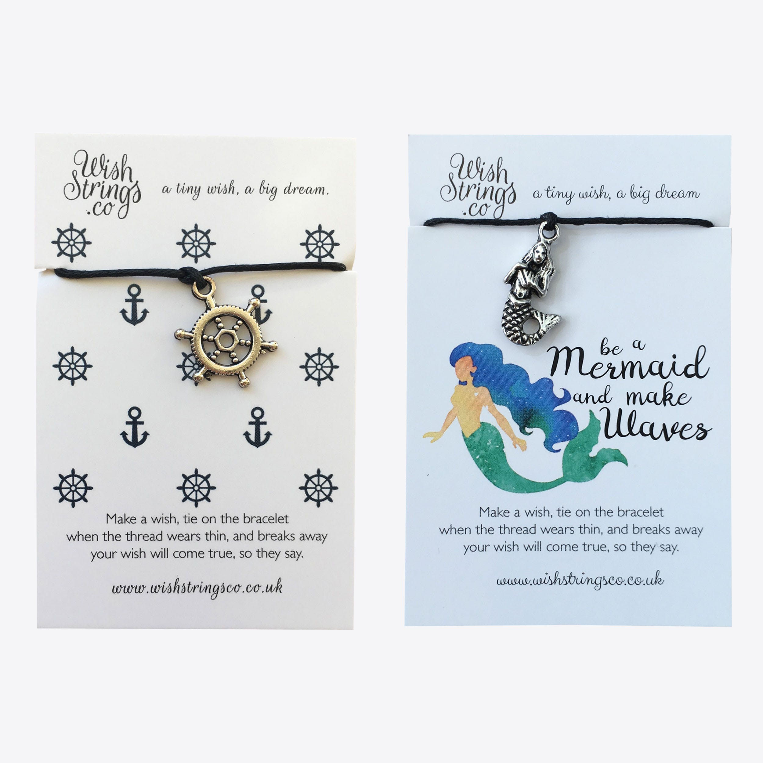 Ships Wheel & Mermaid Waves Duo Friendship Bracelets