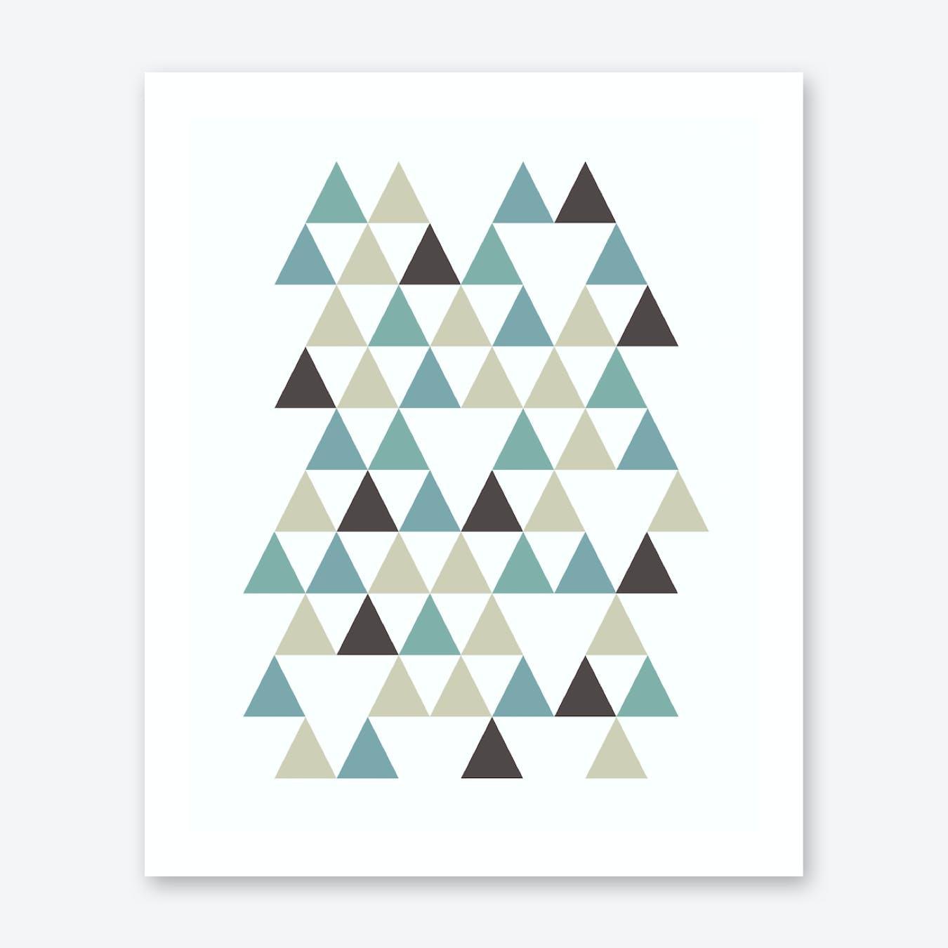 Scandi Triangles Forest Print