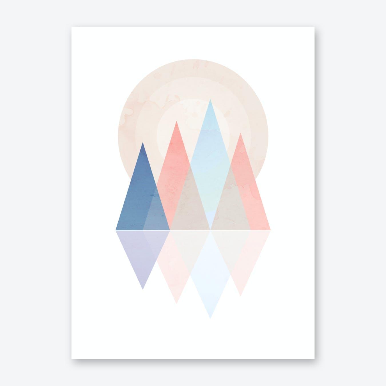 Pink Blue Scandi Mountains Print