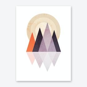 Scandi Mountains Print Terracotta and Purple Print