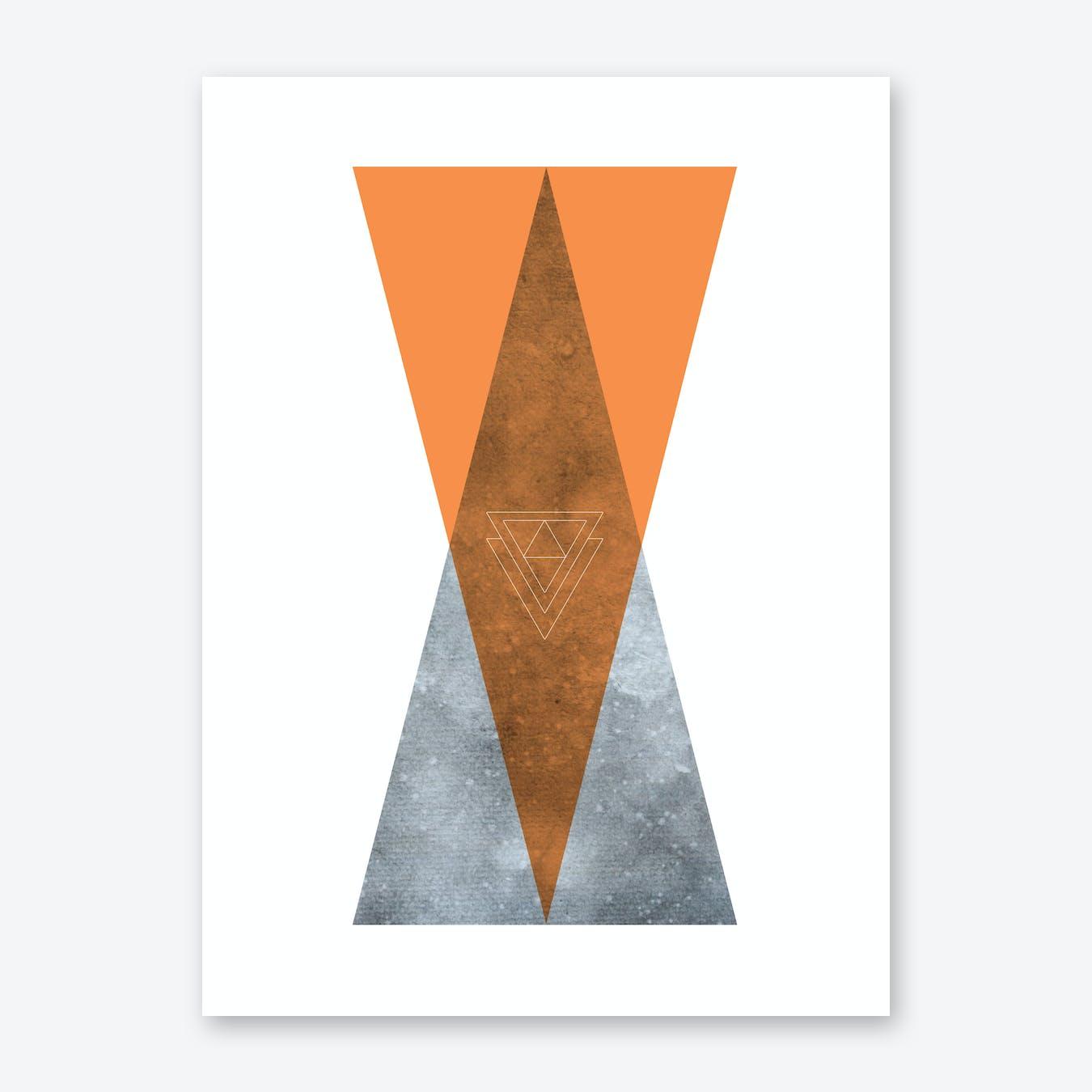 Scandi Art Orange Mountain Print