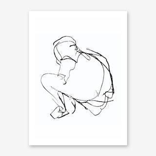 Sitting Figure Sketch Art Print