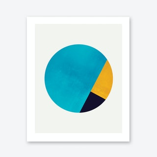 Turquoise and Gold Moon Art Print
