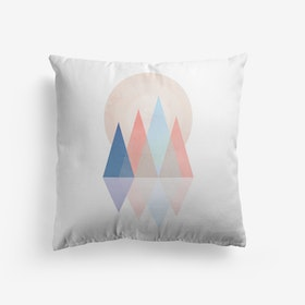 Pink And Blue Scandi Mountains Cushion