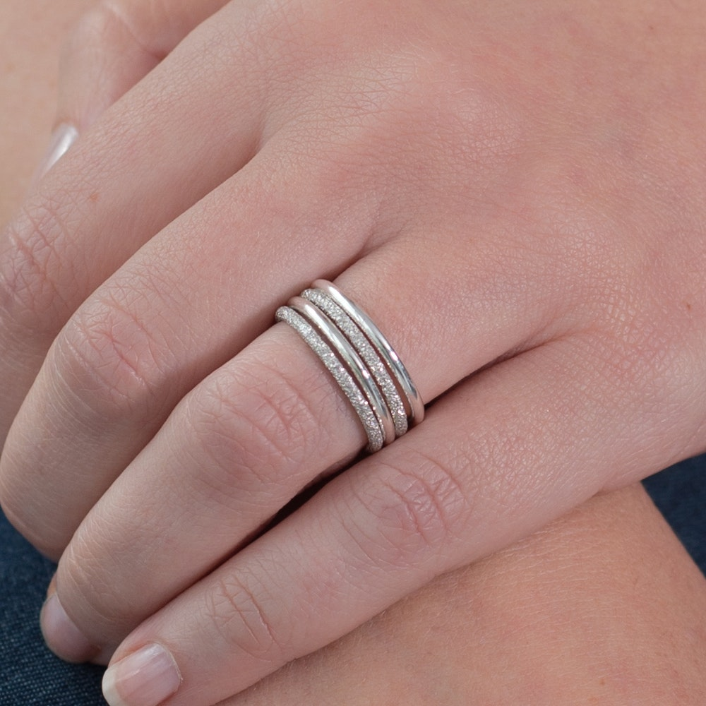 Silver Aurora Stacking Rings By Xiss Jewellery - Fy