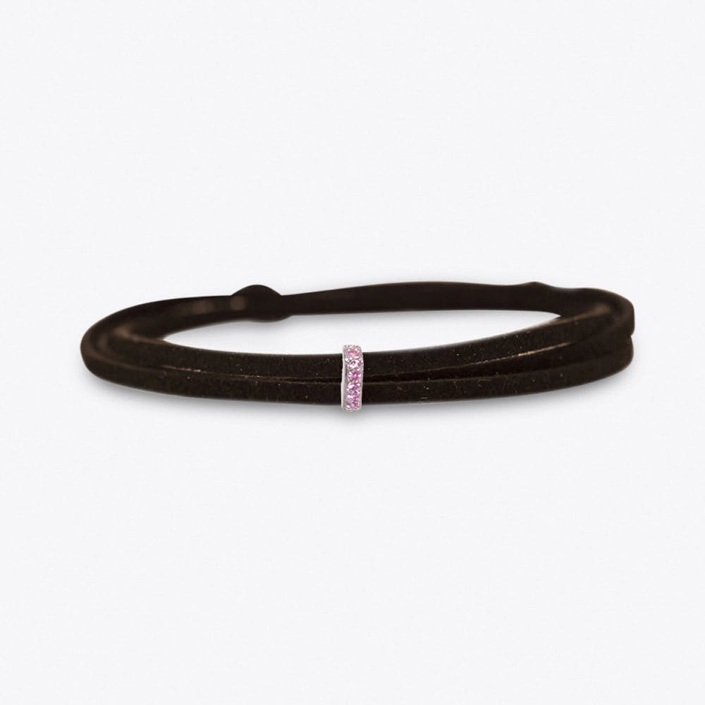 Silver & Pink Sapphire Suede Choker