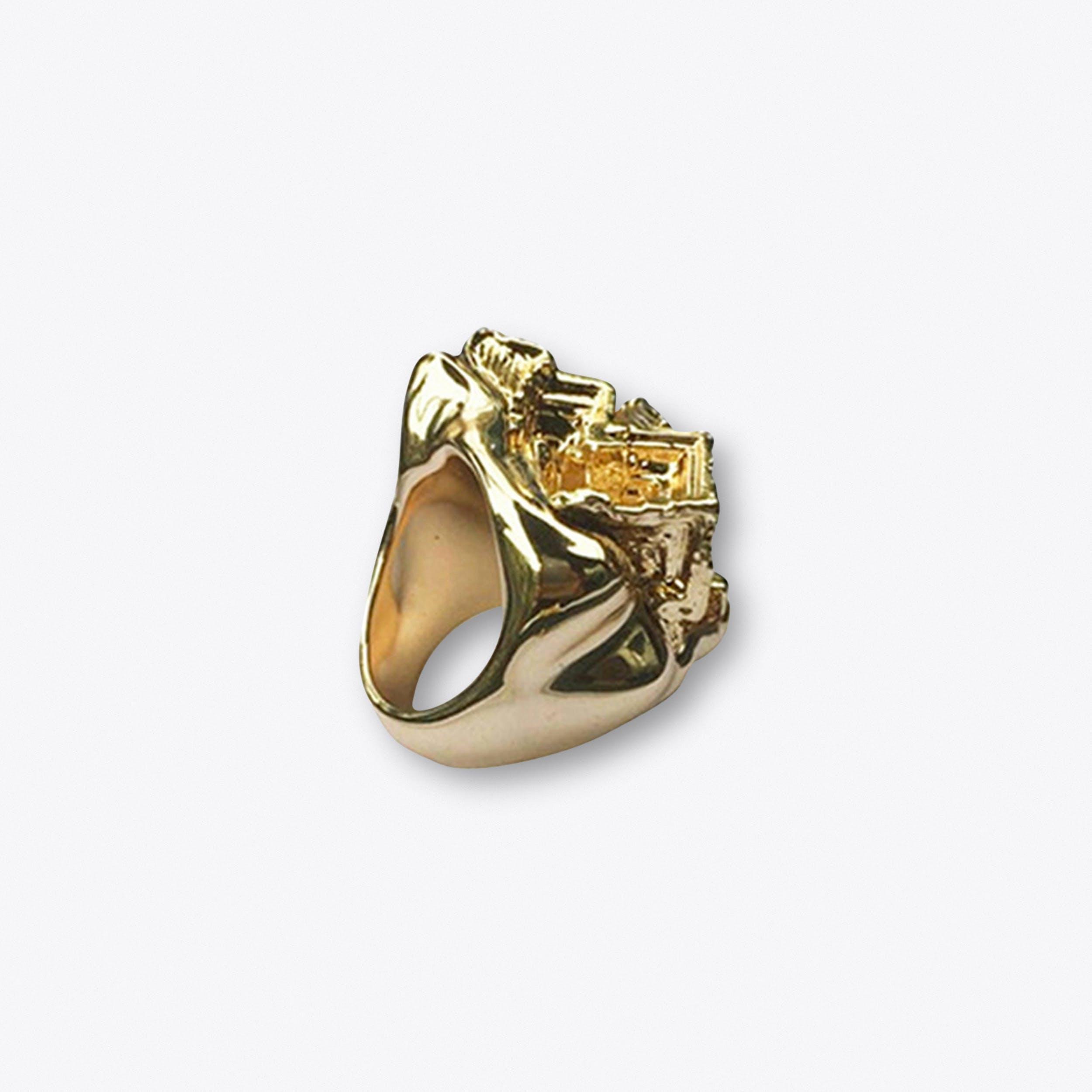 Gold Vortex Statement Ring