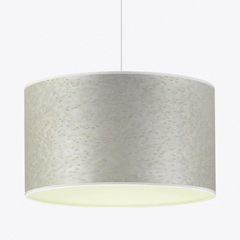 Pearl Grey And Cream Wood Veneered Drum Shade