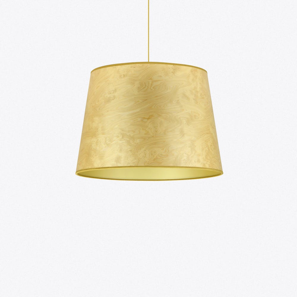 Light Burl And Gold Large Wood Veneered Cone Shade