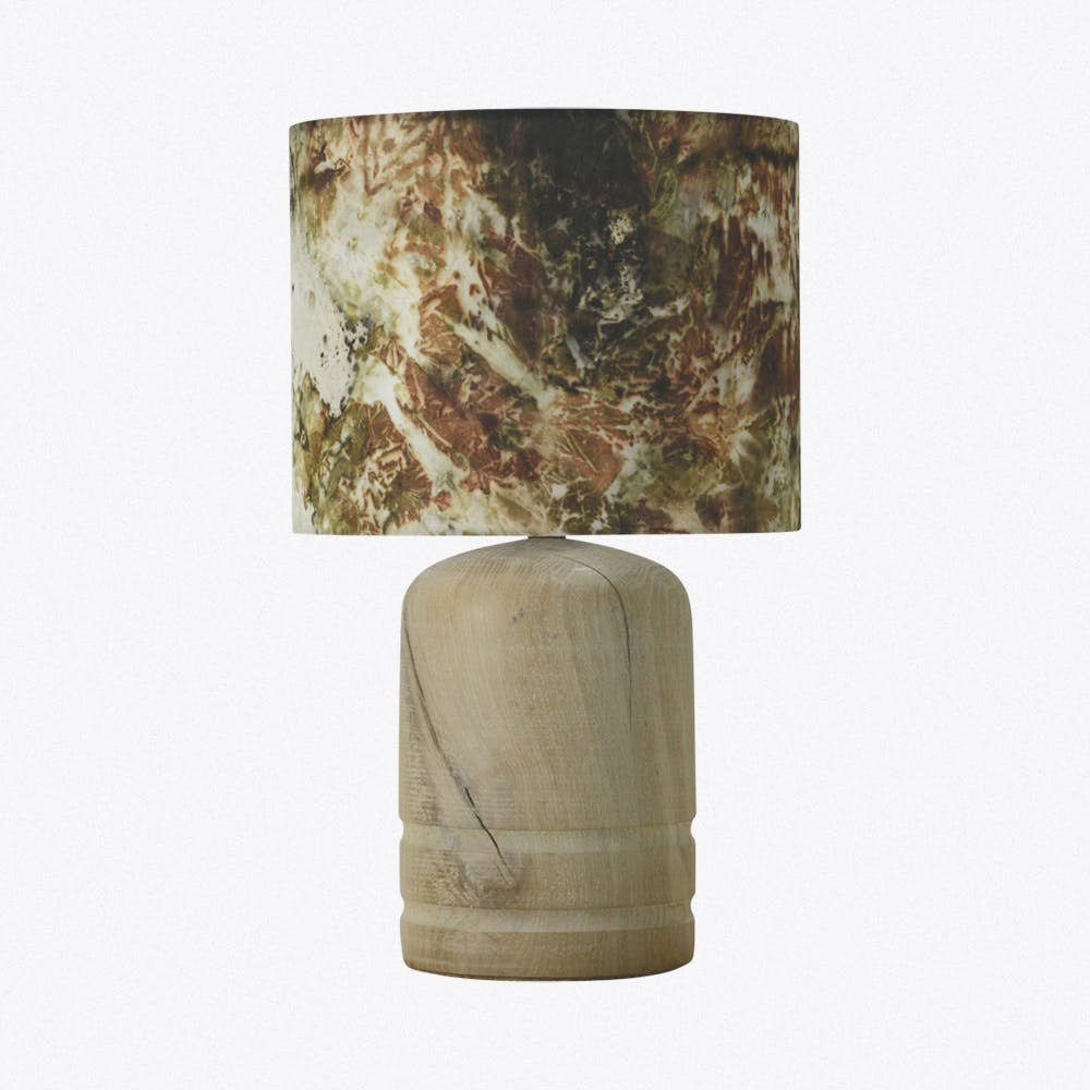 Oak Dome Lamp Limed- Onion And Iron Silk