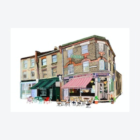 The Village Bakery, Walthamstow Village (White) A3 Print