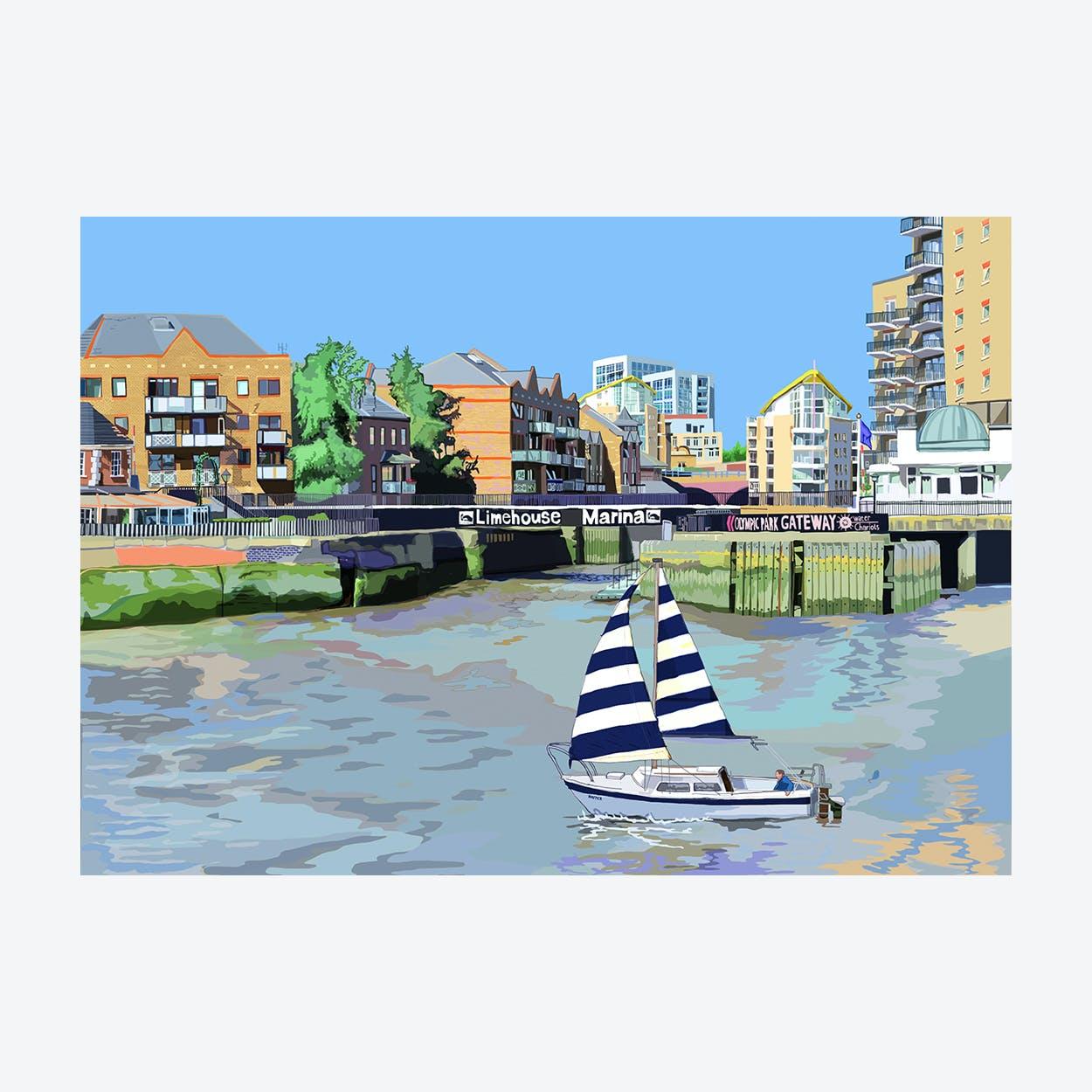 Limehouse Marina Entrance A3 Print