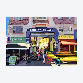 Brixton Village Entrance, South London A3 Print