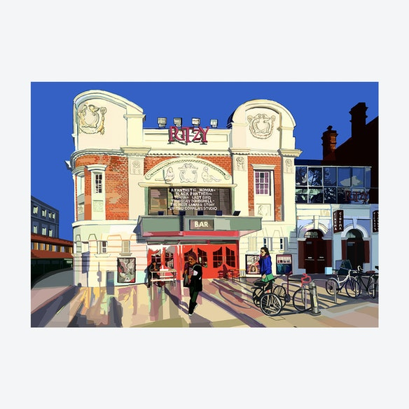 new product f3fc5 d7515 The Ritzy Cinema, South London A3 Print by Tomartacus