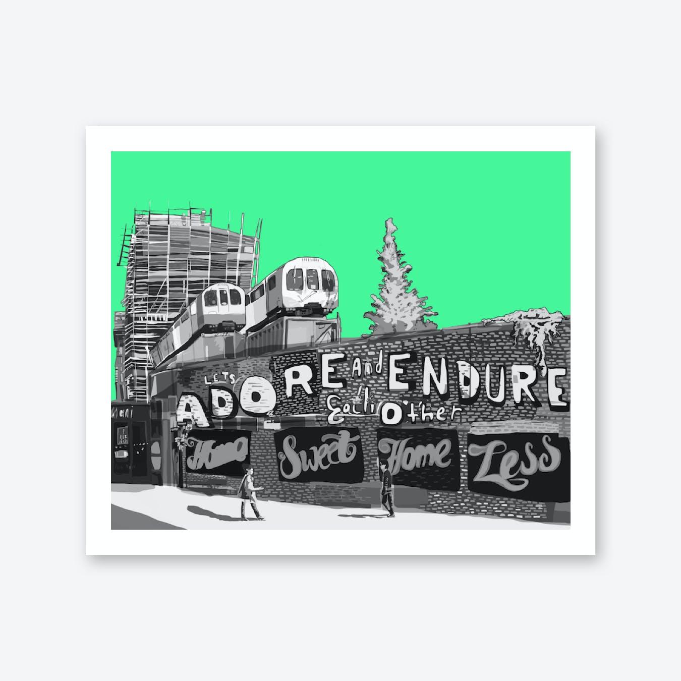 Adore + Endure Green, Shoreditch A3 Print