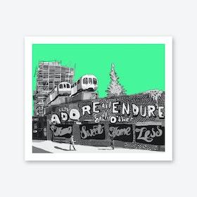 Adore + Endure Green, Shoreditch A3 Art Print