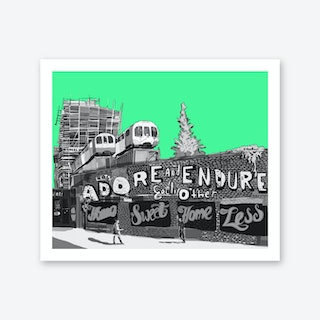 Adore + Endure Green, Shoreditch A3 Art Print