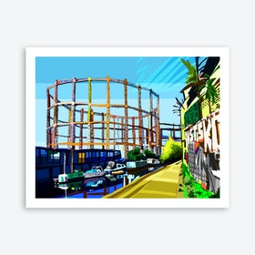 Bethnal Green Gas Holders, East London A3 Print