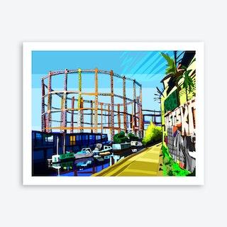 Bethnal Green Gas Holders, East London A3 Art Print