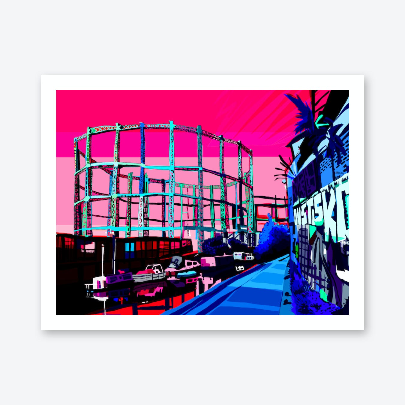 Bethnal Green Gas Holders Evening, East London A3 Print