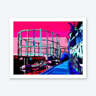 Bethnal Green Gas Holders Evening, East London A3 Art Print
