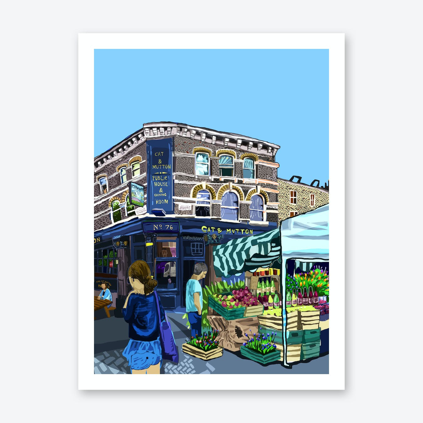 Cat and Mutton, Broadway Market, East London A3 Print
