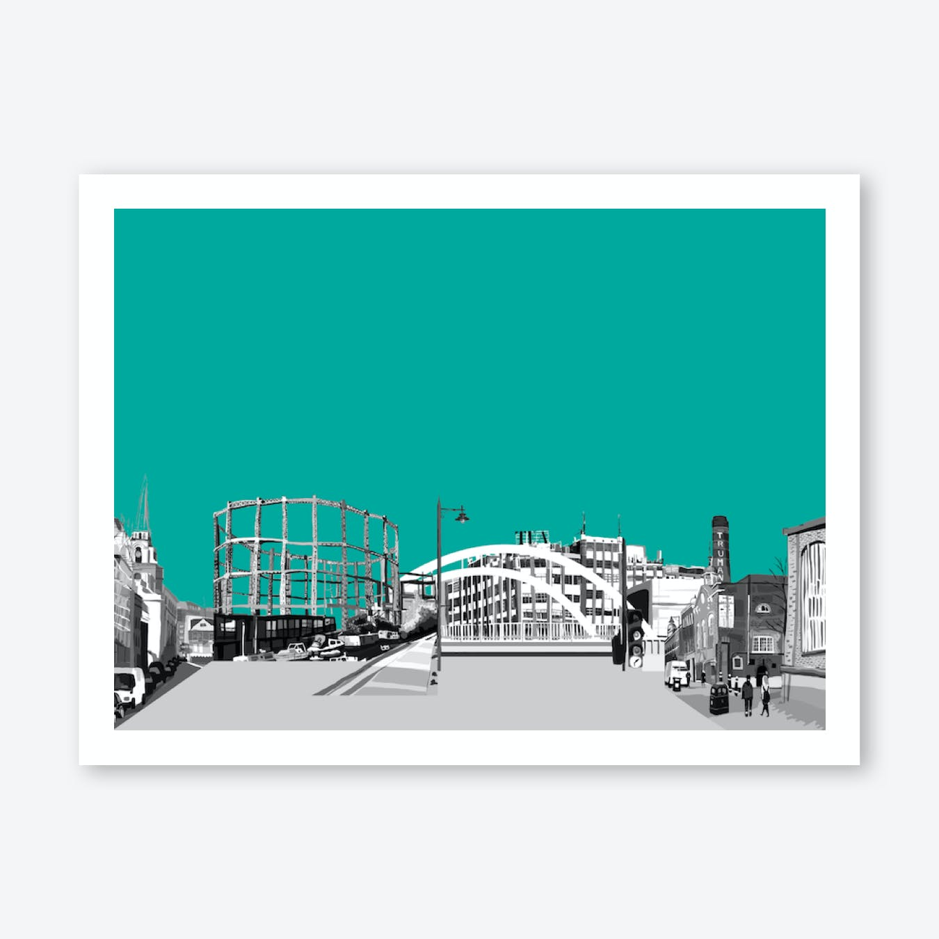 East London Landscape Green A3 Print