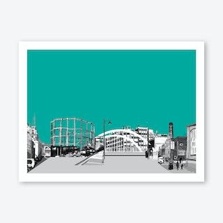 East London Landscape Green A3 Art Print