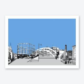 East London Landscape Light Blue A3 Art Print