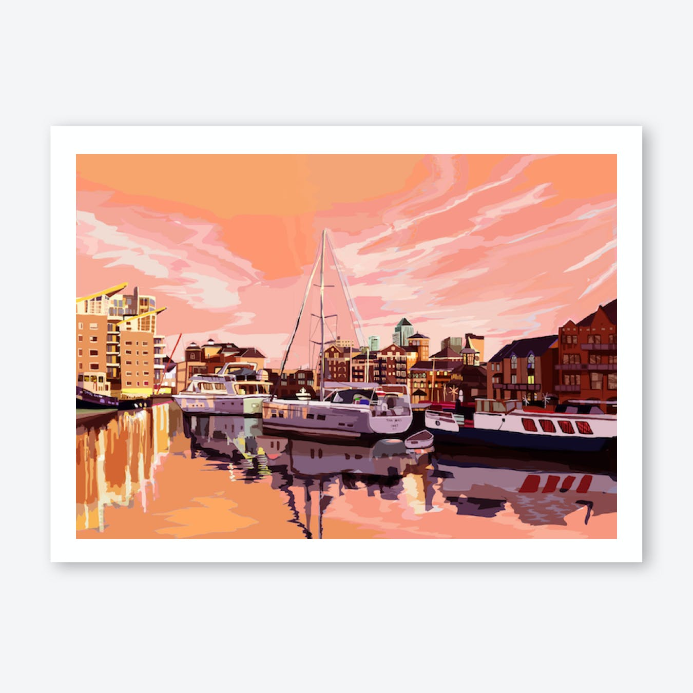 Limehouse Basin Marina at Dusk, East London A3 Print
