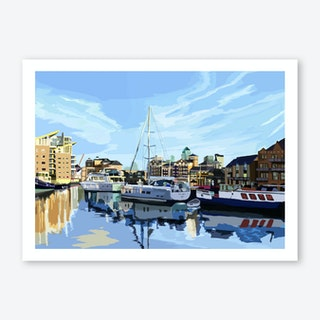 Limehouse Basin Marina, East London A3 Art Print
