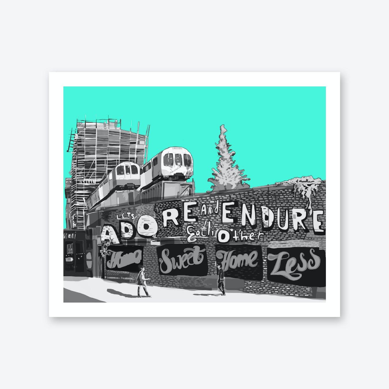 Adore + Endure Light Green, Shoreditch A3 Print