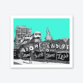 Adore + Endure Light Green, Shoreditch A3 Art Print